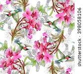 exotic little humming birds and ... | Shutterstock . vector #398058106