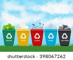 recycle garbage bins.... | Shutterstock .eps vector #398067262