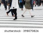 motion blurred  people across... | Shutterstock . vector #398070826