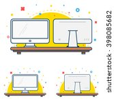 flat line computer display or... | Shutterstock .eps vector #398085682