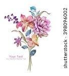 watercolor illustration flowers ... | Shutterstock . vector #398096002