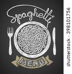 spaghetti menu drawn on... | Shutterstock .eps vector #398101756