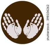 hand print icon with hand stamp ...