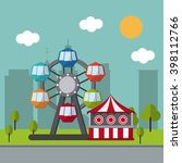 circus wheel and tent design  | Shutterstock .eps vector #398112766