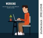 boy working on laptop design | Shutterstock .eps vector #398114548