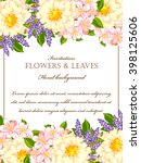invitation with floral... | Shutterstock . vector #398125606