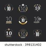 ten years anniversary...   Shutterstock .eps vector #398131402