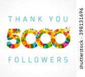 the vector 5000th thanks card... | Shutterstock .eps vector #398131696