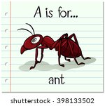 flashcard letter a is for ant...