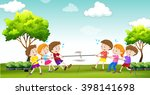 Children Play Tug Of War In Th...