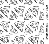 trendy pizza pattern with hand... | Shutterstock .eps vector #398146525
