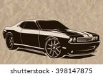 old school muscle cars inspired ... | Shutterstock .eps vector #398147875