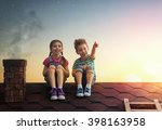 two cute children sit on the... | Shutterstock . vector #398163958