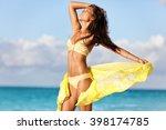 sexy suntan woman relaxing... | Shutterstock . vector #398174785