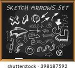 sketch arrows on chalkboard... | Shutterstock .eps vector #398187592