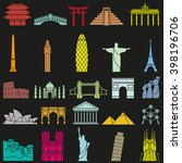 world landmarks outline icons ... | Shutterstock .eps vector #398196706