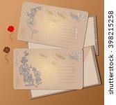 vintage postcards and envelopes ...   Shutterstock .eps vector #398215258