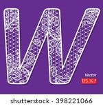 white lace lacy font letter w ... | Shutterstock .eps vector #398221066