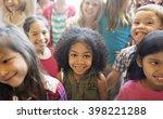 school children cheerful... | Shutterstock . vector #398221288