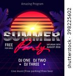 dj summer party  night club... | Shutterstock .eps vector #398225602