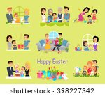 happy easter family set design. ... | Shutterstock . vector #398227342