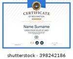 certificate of recognition... | Shutterstock .eps vector #398242186