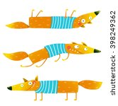 fox animal character in clothes ... | Shutterstock .eps vector #398249362