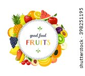 round label with fruits  apple  ... | Shutterstock .eps vector #398251195