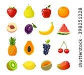 set of colorful cartoon fruit... | Shutterstock .eps vector #398251228