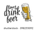 male hand holding a beer mug.... | Shutterstock .eps vector #398255092