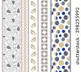 set of seamless paisley borders ... | Shutterstock .eps vector #398255992