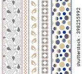 set of seamless paisley borders ... | Shutterstock .eps vector #398255992