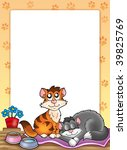 Stock photo frame with two cute cats color illustration 39825769
