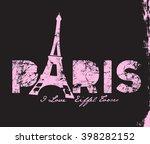paris tower t shirt print design | Shutterstock .eps vector #398282152
