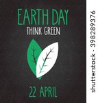 earth day poster on black... | Shutterstock .eps vector #398289376
