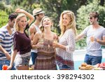 group of friends enjoying at... | Shutterstock . vector #398294302