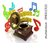 old gramophone and musical... | Shutterstock . vector #398311522