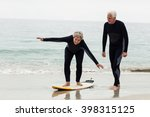 senior man teaching woman to... | Shutterstock . vector #398315125