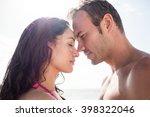 romantic couple embracing face... | Shutterstock . vector #398322046