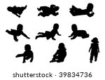 nine babies silhouettes | Shutterstock . vector #39834736