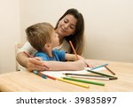 mother helping her son to draw  ... | Shutterstock . vector #39835897