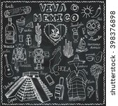 travel mexico doodle symbols... | Shutterstock .eps vector #398376898