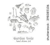 garden tools doodle set.... | Shutterstock .eps vector #398385106