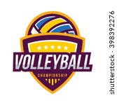 volleyball logo badge  american ... | Shutterstock .eps vector #398392276