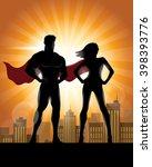 superhero couple silhouette... | Shutterstock .eps vector #398393776