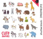 cute animals. cat  cow  pig ... | Shutterstock .eps vector #398398192