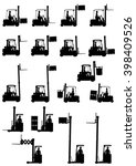 silhouettes of forklifts on the ... | Shutterstock .eps vector #398409526