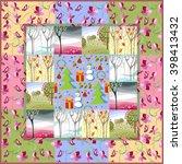 quilt blanket. patchwork. four... | Shutterstock .eps vector #398413432