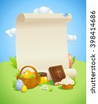 easter design with empty paper... | Shutterstock .eps vector #398414686