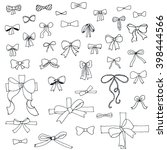 doodle collection of of bows | Shutterstock .eps vector #398444566